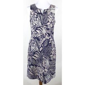 Banana Republic Purple Leaf Print Sleeves Dress 8